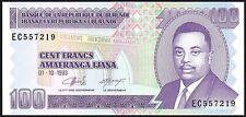 1993 BURUNDI 100 FRANCS BANKNOTE * EC 557219 * UNC * P-37a *