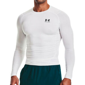 Under Armour Mens HeatGear Compression Long Sleeve Top White Sports Running