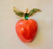 Vintage apple brooch signed Capri enamel rhinestone & jade? chip fruit pin