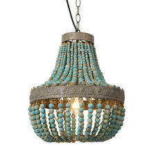 Blue Wood Bead Chandelier Pendant Ceiling Lights Finishing Vintage Rustic Lamp