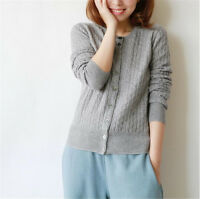 New Women's Twist Knitted Jacket Short Cashmere Blend Sweaters Cardigan Coats