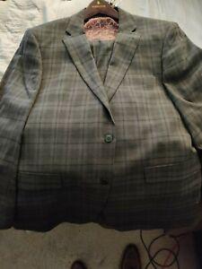 Perry Ellis Slim-Fit Portfolio Grey Grid Stretch Suit Mens 44R Pants 37w
