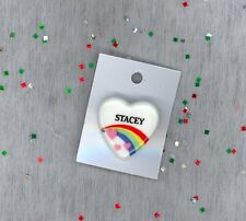 Rainbow & Hearts Fashion Pin Brooch Personalized STACEY - Stocking Stuffer