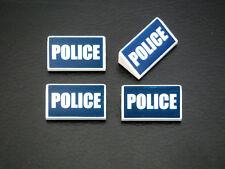 Lego 4 white slopes 1 x 2 x 2/3 w. Dark Blue police pattern NEW Neufs REF 19647