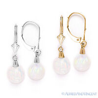 Fiery White Opal Gem Dangling Drop Earrings Solid 14k 14kt Yellow or White Gold