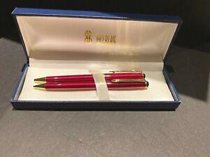 Bill Blass Manhattan Pen and .9 Mechanical Pencil Set Burgundy & Gold NEW