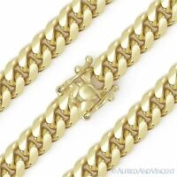 8.3mm Miami Cuban Curb Link Italy Sterling Silver 14k Yellow Gold Chain Bracelet