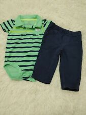 Baby boy Carter's green 2 piece outfit Size 9 Months