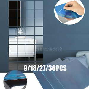 36Pcs 3D Mirror Tiles Wall Sticker Square Self Adhesive Stick On DIY Home UK
