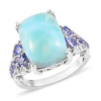 Larimar and Tanzanite Sterling Silver Ring Sz 7