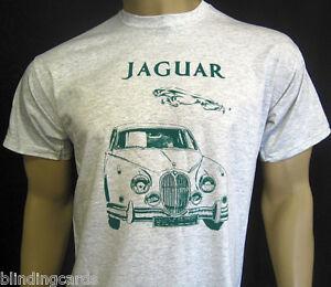 JAGUAR MK2 T-SHIRT - Ash Grey or Olive Green - Classic British luxury saloon car