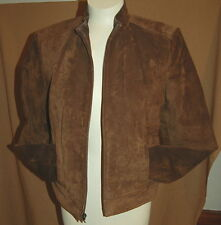 Preowned WOMENS Leather Jacket Petite BROWN VALORIE STEPHENS Cropped Lined