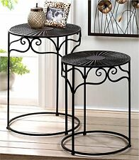 Set of (2) * UMBER BROWN IRON-WICKER NESTING END SIDE PLANT STAND TABLES*NIB