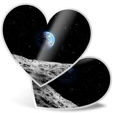 2 x Heart Stickers 7.5 cm - Planet Earth Space NASA Moon Blue  #24374
