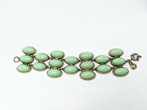 "J.Crew Bronze & Mint Green Chunky Statement Bracelet 8"""
