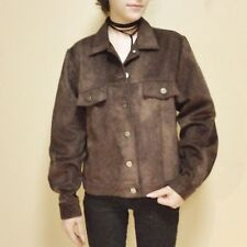Retro Style Brown Faux Leather Suede Women's Sz. Small Jacket by Gotcha Covered