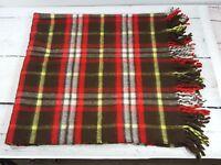 Vintage Troy Robe Plaid Stadium Blanket Brown Red Wool Mills Troy NH 50 x 53