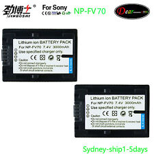 2x 3000mAh Battery for Sony NP-FV30 NP-FV50 NP-FV70 NP-FV100 FDR-AX100 AU-ship
