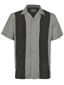 Men's Classic Two Tone Casual Guayabera Bowling Button Up Dress Shirt