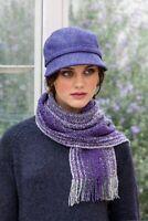 Green Purple Mix Irish Skellig Scarf Cashmere & Merino Wool Mucros Weavers v14