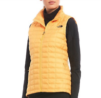 HTF! NEW THE NORTH FACE THERMOBALL MATTE YELLOW SLIM FIT ECO VEST HIKING STOWS S