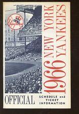 Original 1966 MLB New York Yankees Schedule