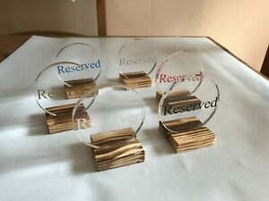 5 x Reserved Table Sign Acrylic Wood Bar Restaurant Tableware Tabletop Hotel