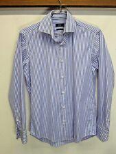 EUC Hugo Boss Dress Shirt blue striped 100% cotton easy iron regular fit 38 / 15