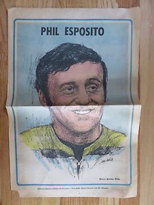 RARE 1971 PHIL ESPOSITO BOSTON GLOBE Newspaper Pin Up Poster BRUINS