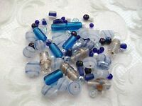 100 Quality Mixed Beads - Glass/Frosted/Large/Blue/Crafts/Pearl/Tube/Metallic