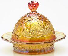 Butterdish - Maple Leaf - Marigold Carnival Glass - Mosser USA