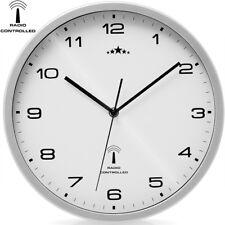 Horloge Radio Pilotée Ø 31Cm Changement Heure Automatique -  Blanc / Argent