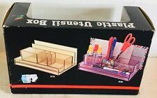 Vintage 1980's 80s transparent plastic desk pen pot holder organiser utensil box
