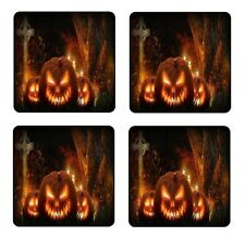 HALLOWEEN PUMPKINS COASTER & HOLDER SET OF 4 - Gloss Hardboard FREE Stand