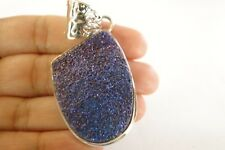 Blue Purple Titanium Druzy Quartz Solitaire 925 Sterling Silver Pendant