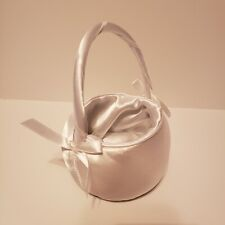 Small White Satin Flower girl/ Ring Bearer Basket With Handle Lillian Rose
