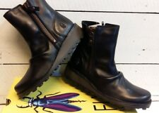 Ladies Fly London Mong Black Leather Zip Ankle Boots