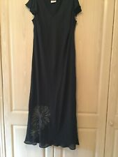 Essence - Black Fully Lined Dress with Embroidered Detail - Size 20