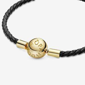ALE S925 Genuine Pandora Moments Black Leather Braided Bracelet 568777C02-S