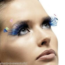 Ladies Long Blue Feather False Eyelashes Burlesque Drag Queen Hen Do Fancy Dress