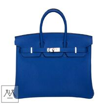 Hermes Birkin 25cm Bag Bleu Zellige Togo Leather PHW - 100% Authentic