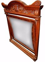 Monumental 19th C. American Victorian Carved North Wind Tilt Mirror - Beveled