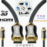 BRAIDED Ultra HD TV HDMI Cable V2.0 PREMIUM 3840*2160p 4K ARC 1/2/3/5/0.5m Long