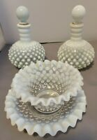 Vintage Fenton Glass Hobnail Opalescent Perfume Bottles; Matching Plate and Bowl