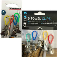 5 Tea Towel Clip Loop Hanger Kitchen Bathroom Mini Holder Hand On Hooks Decor