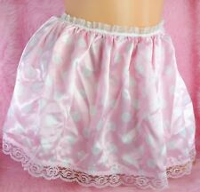 "Tiny Cute SATIN wetlook PINK Polka dot half slip mini sissy skirt sz 26-42"" OS"