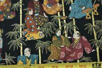 By 1/2 Yd, Vintage, Oriental Scenes Metallic-Gold Cotton, Andover/Kesslers,P1895