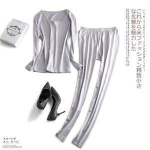 80% Silk 20% Cotton Women's Warm Thermal Underwear Long Johns Set M-2XL XS381
