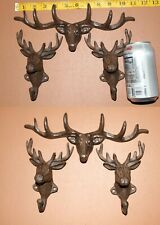 Deer Hunters Cabin Bathroom Wall Hooks / Cast Iron / Country Gifts - 6 items