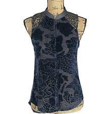 Anthropologie Top XS Blue Velvet Burnout Gold Sequin TINY Ileana Keyhole Hi Low